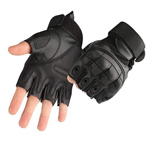 COTOP Gummi Harte Knöchel Handschuhe Fingerlose Halbfinger Sport Outdoor Handschuhe Fit für Radfahren Airsoft Paintball Motorrad Wandern Camping Fitness Fahrrad Handschuhe(Black, XL)