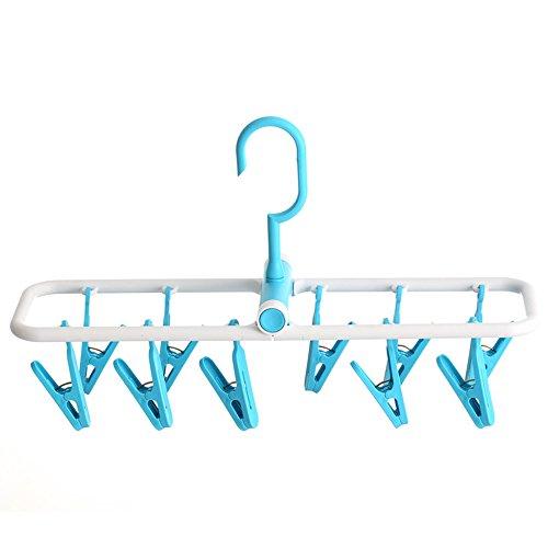 Drying racks 10 Clamp verdickt Hänger Unterwäsche Socke Stand Kombinieren Multifunktions Windbreaker Kunststoff Balkon Trocknen Rack (vier-Farben) (Farbe : Blau)