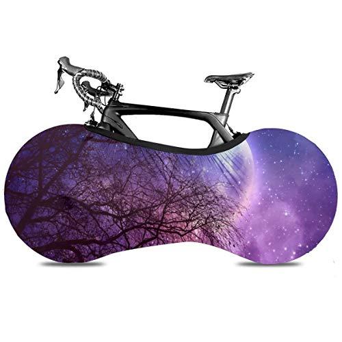 Space Nebula Planets Cubierta de Bicicleta Portátil Interior Anti Polvo Alta Elástica Cubierta de Bicicleta Cubierta de Protección Rip Stop Neumático Carretera MTB Bolsa de Almacenamiento, Luna llena de cielo estrellado púrpura, talla única