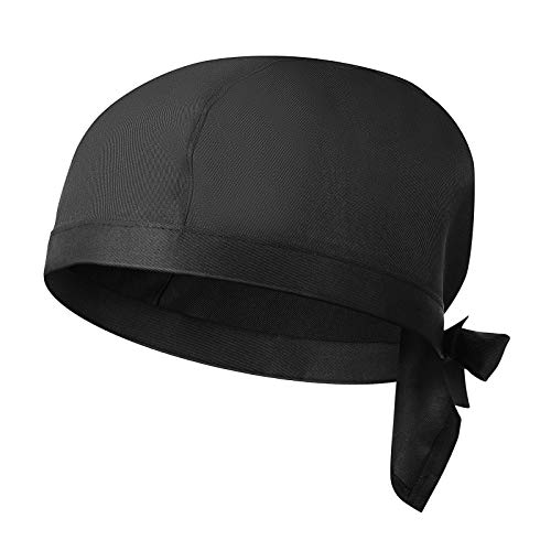 DOITOOL Cappello da Cuoco Nero da 1 Pz per Adulti con Fasce Regolabili Cappello da Cuoco Unisex da Cucina per Cuoco O da Uomo (Nero)