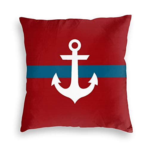 Feamo Nautical Anchor Burgundy & Navy Blue Velvet Soft Decorative Square Throw Pillow Covers Cushion Case Pillowcases for Sofa Chair Bedroom Car 18X18inch