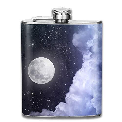 iuitt7rtree Full Moon Sky Stars Pocket Leak Proof Liquor Hip Flask Alcohol Flagon 304 Stainless Steel 7OZ Gift Box Outdoor