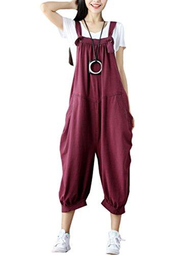 MatchLife Damen Retro Latzhose Sommerhose Jumpsuits Lässig Trousers Hose Overalls Wein