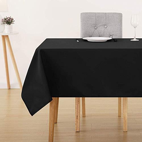 Deconovo Tischdecke Wasserabweisend Tischwäsche Lotuseffekt Tischtücher 130x160 cm Schwarz