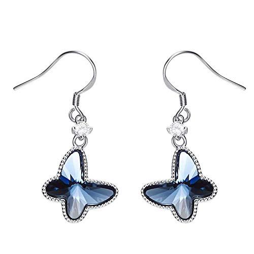 Gymqian Novedad Joyas- Mujeres Damas 925 Pendientes de Plata de ley Nudo de Mariposa Pendientes de Gota Azul