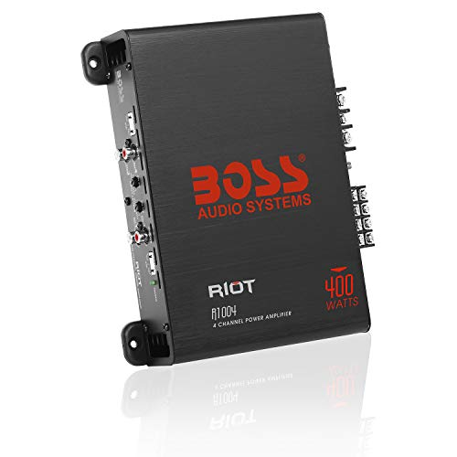 BOSS Audio Systems R1004 4 Channel Car Amplifier - 400 Watts, Full Range, Class A/B, 2-4 Ohm Stable, Great for Car Speakers and Car Stereos