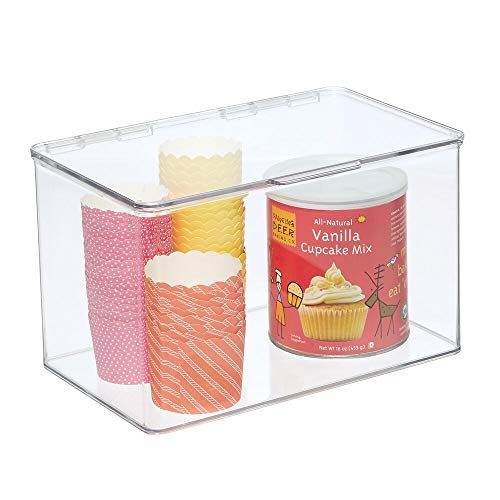 mDesign Plastic Stackable Box Food Storage Container Box with Hinged Lid - for Kitchen, Pantry, Cabinet, Fridge/Freezer - Deep Organizer Box for Snacks, Produce, Pasta - BPA Free - Clear
