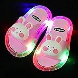 Perferct Zuecos Sanitarios Mujer,Zapatillas Luminosas LED, Zapatillas Antideslizantes de Soft-SOBLED PVC, Sandalias de baño para niños, Chicas y Chanclas, niños pequeños-Rosa b_I 31