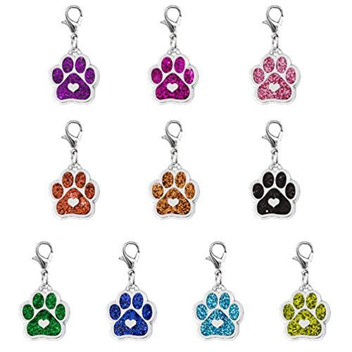 MILISTEN 10 piezas gato perro huellas esmalte colgante con mosquetón llavero brillante joyas descubrimientos para DIY joyas fabricación collar pulsera