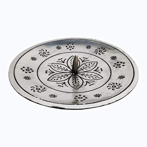 Orientalischer Kerzenständer Kerzenhalter Silber Jaini Rund 12cm Groß | Marokkanischer Metall Kerzenleuchter für Taufe, Kommunion, Hochzeit oder auf Gedeckter Tisch als Tischdeko im Wohnzimmer