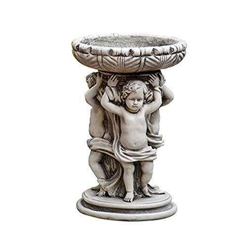 PLHMS Soporte para macetero de Estatua de ángel, Soporte para macetas suculentas, Adorno de jardín, Hecho de Resina, Plantas de Bricolaje, para decoración de Exteriores