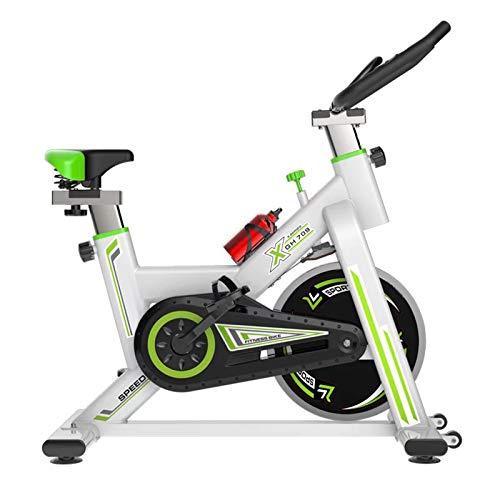 Bicicleta estática estática para interior con resistencia magnética y cinturón conducido suave vertical, entrenamiento aeróbico y fitness para entrenamiento en casa, color blanco