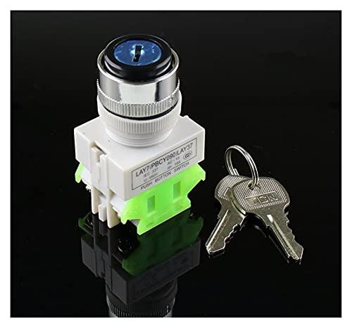 SRQOESFF Interruptor Giratorio LEY37 22mm Interruptor Giratorio 2/3 Posición Perilla Bloqueo de Llave Giratorio 1NO / 1NC y 2NO Cambio Giratorio DPST Interruptor de Bloqueo 660V UI 10A ITH