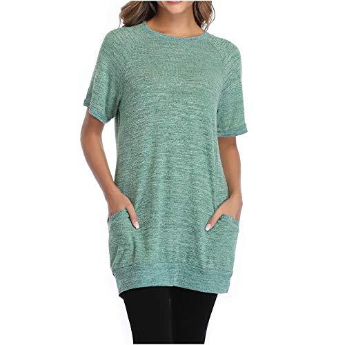 Damen Shirt Kurzarm Rundhals Sommer Basic Beiläufig Casual Streifen Tops Atmungsaktive Stretch Lose Women Oberteil lässige Bluse Hemd Vintage Retro Tunika (Dunkelblau,XL) (Dunkelblau,XL)