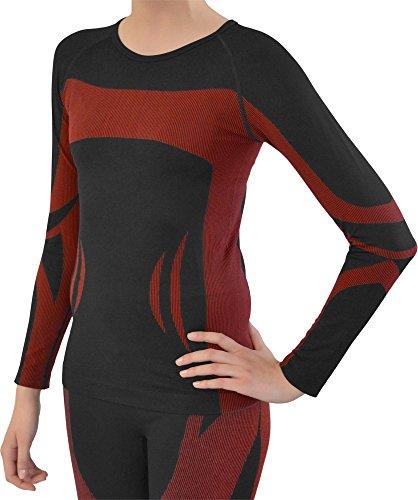 normani Sport Funktionswäsche Damen Langarm Hemd Seamless Ski-, Thermo- & Funktionsshirt ohne störende Nähte mit Elasthan in versch. Farben Farbe Schwarz/Rot Größe L/XL