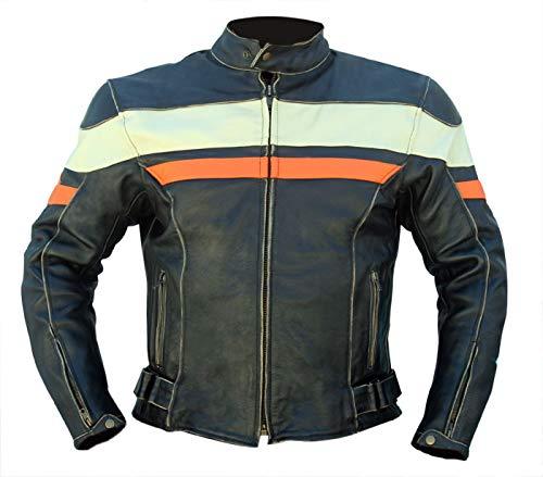 Iguana Custom Collection Chaqueta de Moto de Cuero Envejecido, Modelo Old Century, Protecciones homologadas y Forro térmico Desmontable. (2XL)