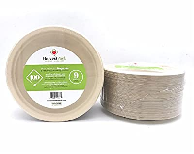 [100 COUNT] 9 in Round Disposable Plates - Made From Natural Plant Fibers Contemporary Eco Friendly Paper Plastic Alternative 100% by-product