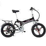 FFF-HAT Bicicleta eléctrica Plegable para Adultos, Bicicleta de aleación de magnesio Todoterreno, Resistencia de 20 Pulgadas 350W / 48V 100/120 kilómetros, con medidor Inteligente, Rueda integrada