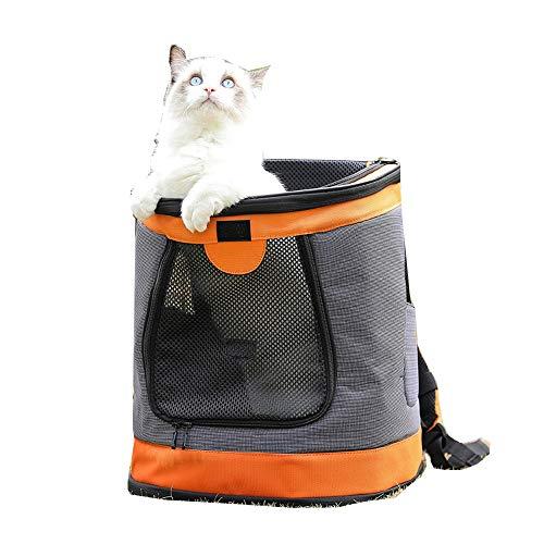 YumEIGE rugzak voor honden hondenrugzak voorverpakt, door het vliegtuig toegelaten rugzak vierzijdige ventilatie, kleine honden en katten, rugzakken voor honden met vluchtwerende gesp oranje
