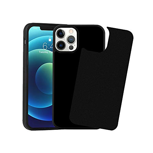 Wingcases Compatible with iPhone 12 Pro Max Case 6.7 inch, Black Anti Gravity Strong Adhesive Stick on The Mirror Glass Flat Smooth Surface Only Protective Cell Phone Cover with Dust Proof Film
