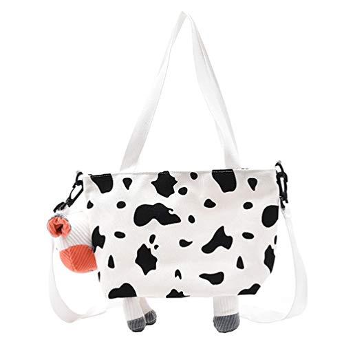 VALICLUD Bolso Bandolera con Forma de Vaca Bolso de Lona con Forma de Animal Bolso Bandolera Bonito para Mujeres Y Niñas