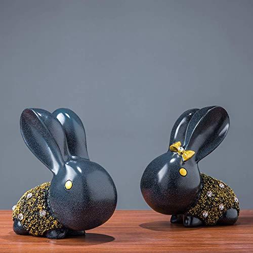 Europeo coniglio scultura decorazioni, Creative Resina Statua Soggiorno Casa Tv Armadio Vino Armadietto Astratto Artigianato Ornamenti Scultura Art-B 16x8x16cm(6x3x6inch)