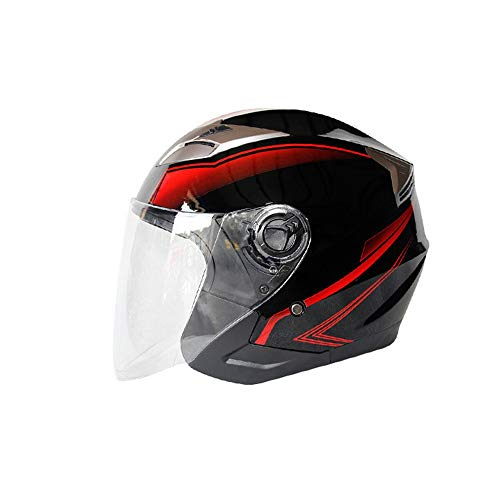 Motorbike Jet Helmet Open Face Crash Chopper Cruiser Half Helmet with Double Sun Visor Scooter Chopper Motorcycle Half Face Helmet for Kids Youth Adults