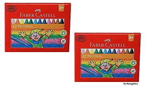 Faber-Castell Wax Crayon Set -75 mm, Pack of 12 (Assorted) Combo Set of 2