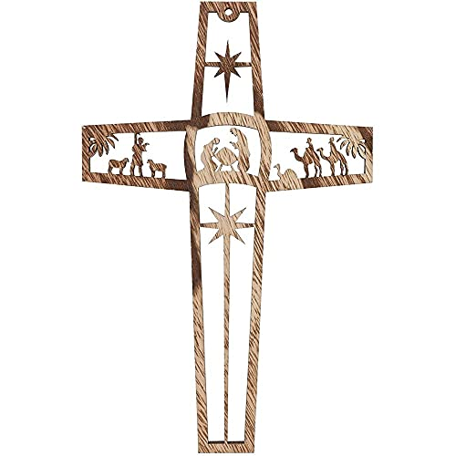 Bright Creations 6pk Wooden Cross with Nativity Scene - Natural