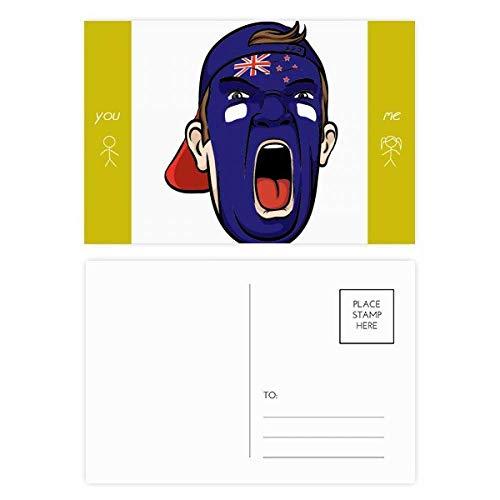 Nieuw-Zeeland Gezichtsmake-up schreeuwende pet vriend ansichtkaart Set Thanks Card Mailing Side 20 stks