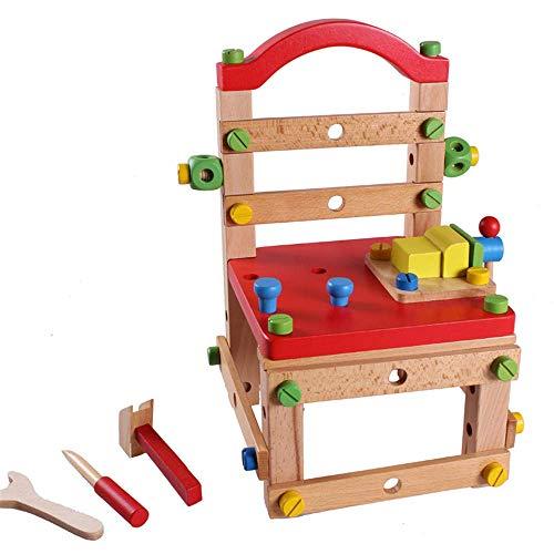 Detazhi Hölzerne zusammengebaute Sorten-Werkzeugstuhl, Multifunktionsarbeitsstuhl Holzblöcke Spielzeug, Holzmodelle und Gebäude Spielzeug Kinder Bildung Werkzeug Spielzeug