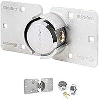 Master Lock 736EURD Alta Seguridad Camionetas, Candado Redondo + Aldaba, óptimo para Furgonetas, Camiones, Puertas y...