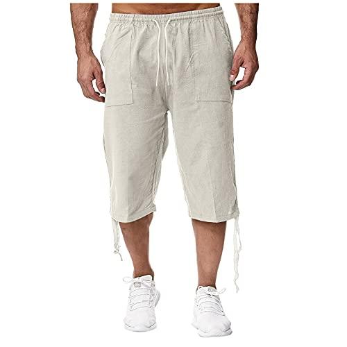 Pantalones de Lino de algodón para Hombre de Verano Pantalones Deportivos con Honda Pantalones de Jogging Pantalones Sueltos Casuales recortados
