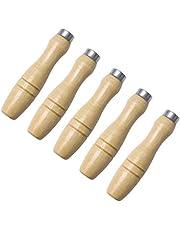 NICEXMAS Mango de Lima de Madera de 5 Piezas con Collares de Metal de Alta Resistencia para Herramientas de Corte de Lima Artesanal- 6. Agujero Interior de 2 Mm
