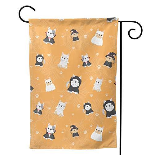 Hangdachang Bonito disfraz de bulldog francs, para Halloween, 1 bandera de jardn, vertical, duradera, doble cara, decoracin personalizada, para exteriores, 2 tamaos, 30,5 x 45,7 x 10,9 cm
