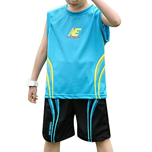 winying Jungen Sport T-Shirt Kurzarm/Ärmellos Trikot Tank Top und Kurze Hose Sommer Shorts Fußball Basketball Bekleidungsset Training Laufen Outfits Blau C 158-164