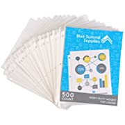 500 Heavyweight Sheet Protectors, Reinforced 3 Hole Design with 3 MIL Thickness, Fits Standard 8.5 x 11 Paper, 9.25 x 11.25 Top Loaded, 500 Pack