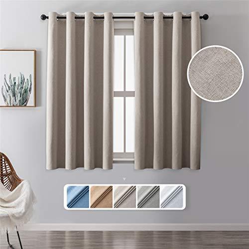 MRTREES 2 Rideau Beige Occultant Thermiques Isolant 132(L) x145(H) cm Anti Bruit 100% Opaque à Oeillets en Lin 3D de Chambre Adulte Enfant Salon Moderne pour Fenêtre Elégant