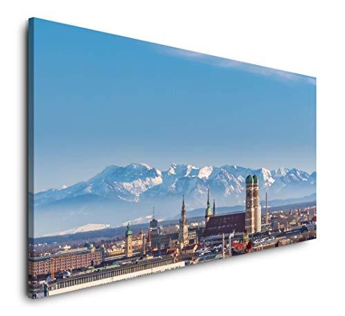 Paul Sinus Art Panorama von München 120x 60cm Panorama Leinwand Bild XXL Format Wandbilder Wohnzimmer Wohnung Deko Kunstdrucke
