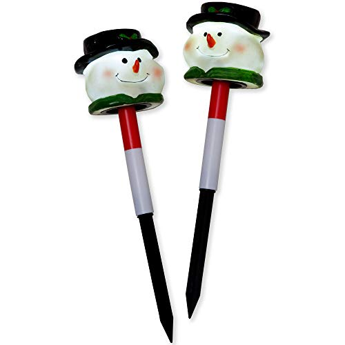 Solar Powered Christmas Snowman Garden Stakes