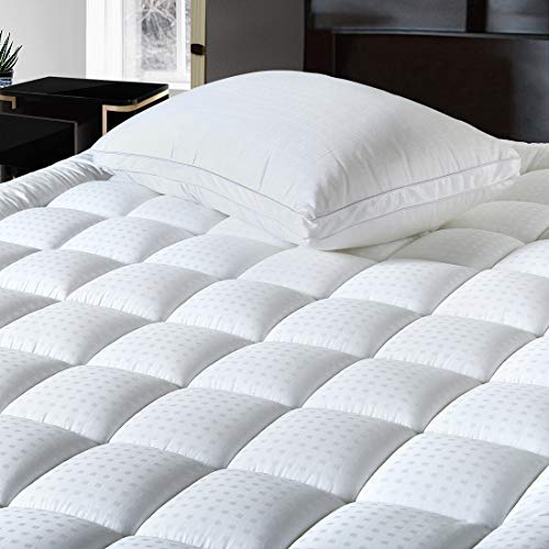 Balichun Queen Size Mattress Pad Pillow Top Mattress Cover Cotton Top 8-21 Fitted Deep Pocket Breathable Fluffy Soft Cooling Mattress Topper (60x80 Inches, White)