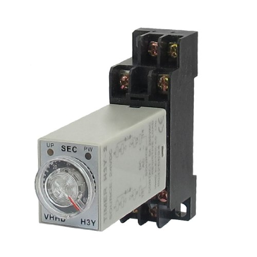 Uxcell a12112700ux0528 H3Y-2 24VDC DPDT 60 Seconds 8P Terminals Delay Timer Time Relay w Base