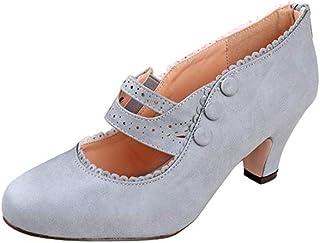 V-Luxury Womens Mina4 Closed Toe Mary Jane High Heel Shoes,Grey,5.5