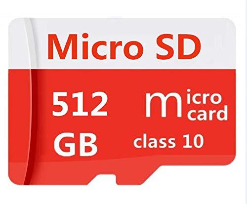 Tarjeta de memoria de 512 GB MicroSDXC clase 10 TF con adaptador gratuito para teléfono, computadora, cámara, Nintendo Switch (512 GB)