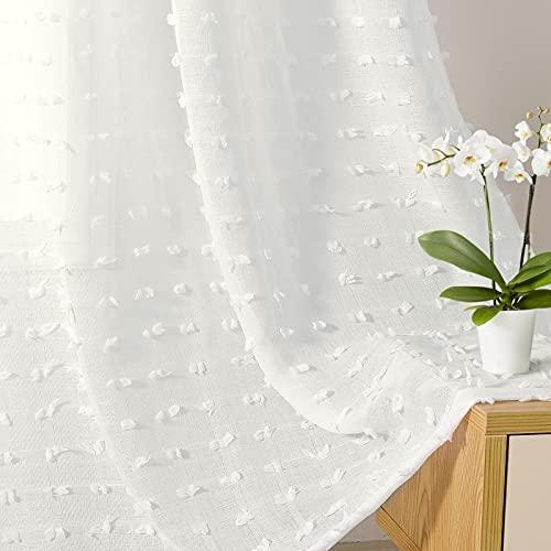 "Guken Off White Sheer Curtains with Pom Poms Tasseled Boho Sheer Curtain for Bedroom Farmhouse Sheer Curtains Rod Pocket Voile Semi Sheer Curtains Living Room Set of 2 Curtain Panels 52"" W x 84"" L"