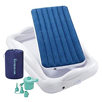 hiccapop Inflatable Toddler Travel Bed with Safety Bumpers [4-Sided] | Portable Toddler Bed for Kids | Toddler Air Mattress | Kids Air Mattress - Navy Blue