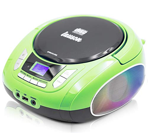 Lauson NXT964 Tragbarer CD-Player, LED-Discolichter, CD-Radio, Boombox, CD Player für Kinder, kinderradio mit cd und USB, Stereoanlage, LCD-Display, Netz & Batterie, Grün