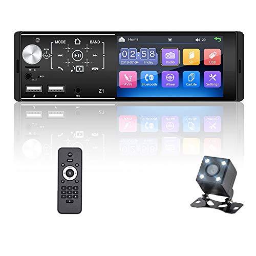 OiLiehu 1 Din Bluetooth Autoradio 12V 4.1 Pollici Touch Screen Supporto Lettore MP5 Connessione Specchio/Vista Posteriore/Ingresso Ausiliario + Memoria Di Spegnimento + Telecomando (Senza Batteria