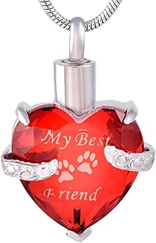 Yiffshunl Collar Collar de Mujer Collar de Hombre con Colgante en Forma de corazón Cristal Rojo Letra Mi Mejor Amigo Animal Imprimación Urna Collares Asshes Kit de Recuerdo Embudo para Colgar