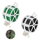 Achort Cuerda de Alambre plastificado para el jardín, Alambre plastificado Home Office Reutilizable Cable artesanía Accesorios 100m, 2pcs (Verde, Negro)